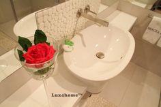 #Pebble Tiles in Bathroom. Black & White Pebble - Lux4home™. Apartments in Bracka Street - Krakow - Poland.  Lux4home™