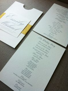 Modern Elegant Wedding Program with Customized  Enclosure. $50.00, via Etsy.