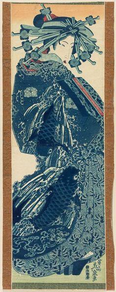 Standing Courtesan / Eisen 藍摺絵 遊女図 渓斎英泉 年代不詳 Japanese Artwork, Japanese Painting, Japanese Prints, Chinese Painting, Japanese Illustration, Samurai, Chef D Oeuvre, Fauna, Woodblock Print