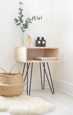 DIY mid century nightstand DIY bedside table, DIY side table with . Minimalist Bedroom, Minimalist Decor, Minimalist Furniture, Modern Bedroom, Contemporary Home Decor, Modern Decor, Modern Design, Design Design, Design Trends