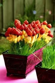 fruit kebabs in wheat grass! such a cute display!