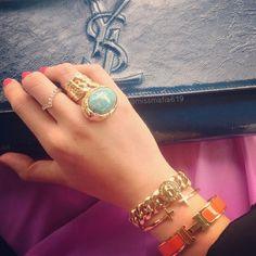 Lovely orange and gold bracelet stack | tumblr