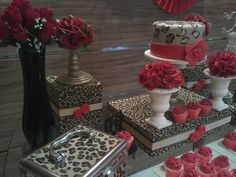 Animal Print and Red Birthday Party Ideas Leopard Birthday Parties, Red Birthday Party, 90th Birthday Parties, Animal Birthday, 65th Birthday, 50th Party, Birthday Stuff, Birthday Ideas, Cheetah Print Party