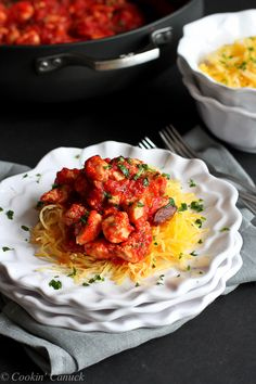 Chicken Puttanesca with Spaghetti Squash Recipe...220 calories and 6 Weight Watcher PP | cookincanuck.com #healthy