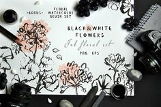 Black&White Flowers - Ink floral set by Graphic Republic on @creativemarket