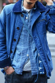 Salt & Selvedge | Indigo blue denim layering | Shirt jacket | Corduroy collar and cuffs? | Faded worn | Menswear