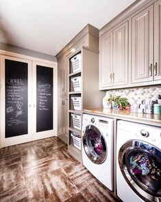 Basket for each family member, another idea would be a separate laundry room for the kids.