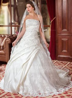 Ball-Gown Strapless Chapel Train Satin Tulle Wedding Dress With Ruffle Lace Beading Sequins (002000616) - JJsHouse