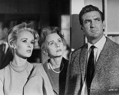 """""""The Birds""""-Alfred Hitchcock: Rod Taylor, Tippi Hedren, Jessica Tandy"""