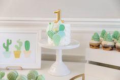 Cute Little Cactus Birthday Party Smash Cake SoCal First Birthday Cakes, Boy Birthday Parties, Baby Shower Parties, Birthday Ideas, Birthday Cookies, Themed Parties, Cactus Cupcakes, Cactus Cake, Llama Birthday