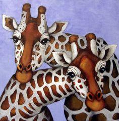 Cat eye giraffes Painting at ArtistRising.com