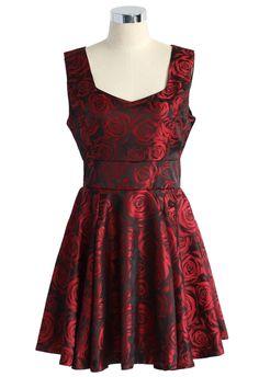 Charming Burgundy Rose Print Dress - Dress - Retro, Indie and Unique Fashion