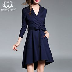 Find More Dresses Information about MYCOURSE European Fashion Style Brand Quality Women Dress Casual Sexy V neck Long Sleeve Slim Vestidos with Bow Ties Navy Dress,High Quality dress handbag,China dresse Suppliers, Cheap dress glitter from MYCOURSE on Aliexpress.com