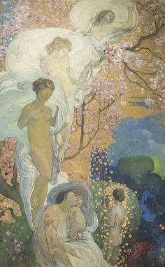 Galileo Chini.  La Vita, 1919 circa Olio su tela, 277 x 172 cm.  Livorno - Lucca, 800/900 Artstudio - Studio d'arte dell'Ottocento