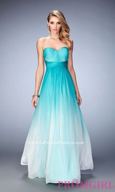 Empire Waist Long Ombre Strapless Prom Dress Style: LF-22880