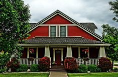 Red Craftsman Home- Arts & Crafts- Bungalow