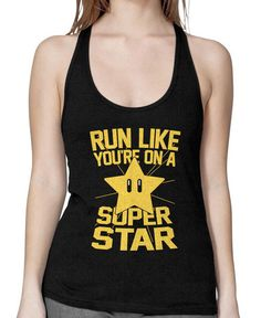 Run Like You're On A Super Star (color) on a Black Racerback Everyone knows that mario can book it in the Mushroom Kingdom. But he's not as fast as when he's all hopped up on a super star. Now you can harness the power for yourself with this awesome shirt. mario, nes, nintendo, wii, u, nerdy, geeky, fitness, workout, clothing, yellow, girls, girly, black