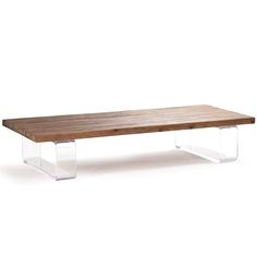 Rustic Acrylic Coffee Table - Natural oak top