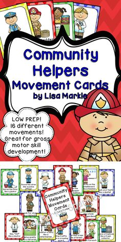 These community helper themed movement cards will keep your students active as they learn about people in their community! They will love pretending to be firefighters, police officers, and more! Keep those excited little ones busy around the holidays and when it's too cold to go outside! All while teaching them about different actions and improving their gross motor skills! Print and cut these out, laminate them and keep them all together on a metal ring. Put on some music and dance!