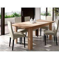 Mesa extensible de líneas rectas fabricada en melamina con el color de moda Roble madera natural. - Sayez