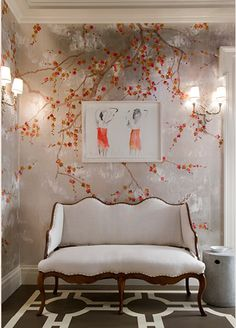 Silver Leaf, Chinoiserie with graphic Modern Geometric on the floor = Modern Gatsby Tiffany Jones Interiors
