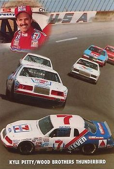 NASCAR 1985 Kyle Petty, Wood Brothers, Thunderbirds Postcard