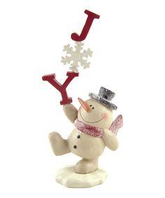 'Joy' Snowflake & Snowman Figurine