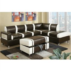 Capture your guests with this captivating 3-piece sectional sofa set that transcends beyond traditional design. Vibrant splashes of cream colored lines and blocks cover its primary hue of espresso bonded leather, making this home furnishing pop with contemporary flair.