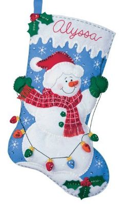 Bucilla Felt Applique Christmas Stocking Kit: Snowman with Lights: This is an Bucilla felt applique Christmas stocking kit. Bucilla felt kits include everything needed to complete the kit. When complete - it's simply adorable! Felt Stocking Kit, Christmas Stocking Kits, Felt Christmas Stockings, Christmas Snowman, Christmas Ornaments, Stocking Ideas, Christmas Lights, Christmas Time, Felt Applique