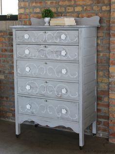 DIY distressed stenciled feminine highboy makeover with Chalk Paint and Miss Mustard Seed stencil - Girl in the Garage Furniture, Dresser Makeover Chalk Paint, Painted Furniture, Grey Bedroom Furniture, Furniture Deals, Home Furniture, Rental Furniture, Repurposed Furniture, Furniture Making