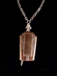 Art Deco antique butter knife bell pendant necklace upcycled repurposed silverwear jewelry