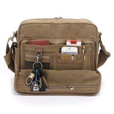 Tenacitee Aged to Perfection 1928 Grey Brushed Canvas Messenger Bag