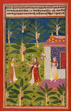 Gundagri Ragini. in a field of banana trees. ca. 1670 – 1680. N. Deccan, poss. Burhanpur, India,  opaque watercolor and gold