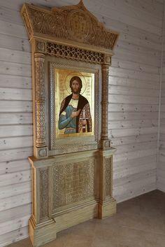 Киот в стиле Русского Севера Byzantine Icons, Prayer Room, Acanthus, Christian Art, Saints, Prayers, Ornaments, Interior, Furniture
