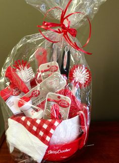 kitchen Gift basket from the Dollar Tree! gift ideas - gifts - hostess gift - present - housewarming - thank you gift - cool gifts - holiday - gift baskets - raffle gift - raffle basket - bridal gift - bridal shower favor - Christmas gift - teacher gift