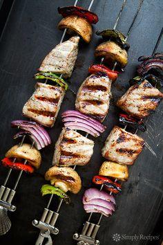 Grilled Tuna Kebabs by simplyrecipes #Kebabs #Tuna #Healthy