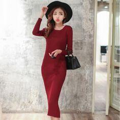 Korea Style Sexy Fashion Slim Long Sleeve Round Collar Back Slit Hip Package Knit A-line One-step Dress ($8.00) http://www.clubwholesale.net/women/sweaters