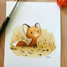 : What a cute fox - foxes Fall Drawings, Cute Animal Drawings, Kawaii Drawings, Cute Drawings, Cute Fox Drawing, Watercolor Cat, Watercolor Animals, Watercolor Paintings, Fuchs Illustration