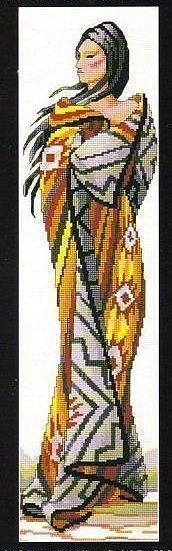 0 point de croix femme indienne - cross stitch indian girl
