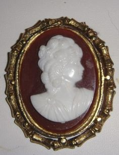 Vintage Gold Cameo amber and white by PaganCellarJewelry on Etsy,