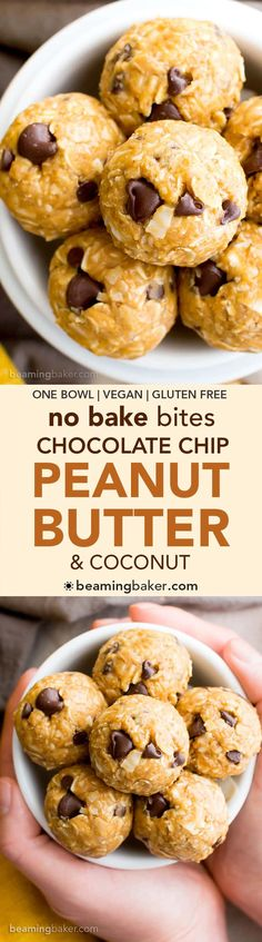 Bake Peanut Butter Coconut Chocolate Chip Bites (V, GF, DF): a one bowl recipe for delicious protein-packed energy bites bursting with PB, chocolate and coconut! Coconut Peanut Butter, Coconut Chocolate, Peanut Butter Recipes, Chocolate Chips, Gluten Free Desserts, Vegan Desserts, Delicious Desserts, Yummy Food, Vegan Sweets