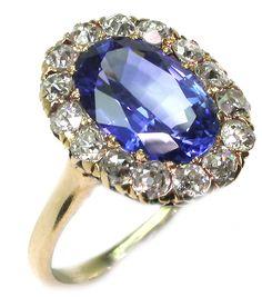 Victorian Ceylon Sapphire & Diamond Ring / http://www.newyorkestatejewelry.com/rings/3.01ct-victorian-yellow-gold-ceylon-sapphire-diamond-ring/7386/1/item#