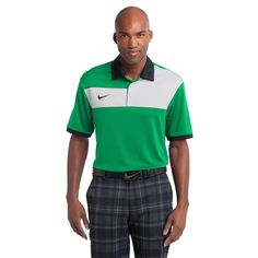 Nike Golf Dri-FIT Sport Colorblock Polo - Lucky Green/Grey/Black - Colorblocking on the chest challenges the traditional polo, while Dri-FIT moisture management technology helps keep things cool. Corporate Shirts, Corporate Wear, Mens Golf Outfit, Blank T Shirts, Golf Polo Shirts, Men's Polos, Nike Golf, Nike Dri Fit, Green And Grey