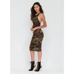 Combat Gear Cut-Out Camo Bodycon Dress ❤ liked on Polyvore featuring dresses, cut out bodycon dress, cutout dress, body con dress, camo dresses and bodycon dress