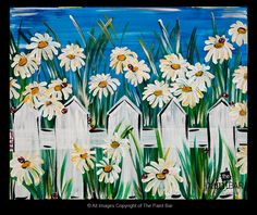 Lady Bugs in a Daisy Garden Painting LOVE daisies! Summer Painting, Garden Painting, Painting & Drawing, Painting Flowers, Arte Floral, Easy Paintings, Learn To Paint, Pictures To Paint, Art Plastique