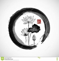 Illustration about Lotus flowers in black enso zen circle. Traditional Japanese ink painting sumi-e. Contains hieroglyph - beauty. Illustration of isolated, japanese, illustration - 74170933 Japanese Ink Painting, Chinese Painting, Chinese Art, Lotus Kunst, Lotus Art, Japanese Lotus, Japanese Art, Traditional Japanese, Ouroboros