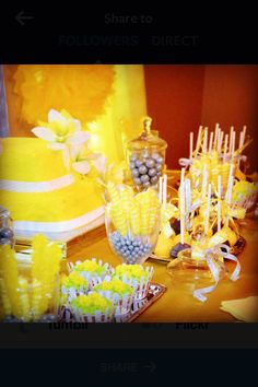 10 year anniversary theme; yellow and silver #daffodils #cakes #cupcakes #cakepops #candy