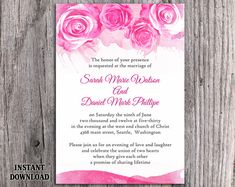 DIY Watercolor Wedding Invitation Template Editable Word File Instant Download Printable Pink Invitation Peonies Invitation Rose Invitation by TheDesignsEnchanted