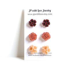 Flower Stud earrings, peach Stud earrings, cinnamon, burgundy, red Stud earrings, resin rose, set of 3 ,resin flower jewelry