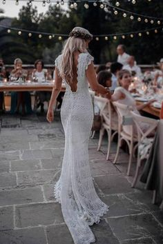 f3f8d93f0fb Boho Mermaid Lace Beach Wedding Dresses Cap Sleeve Bohemian Bridal Gown  N1281